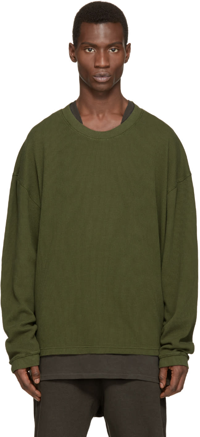 Yeezy Season 1 Green Waffle Cotton Thermal T-shirt