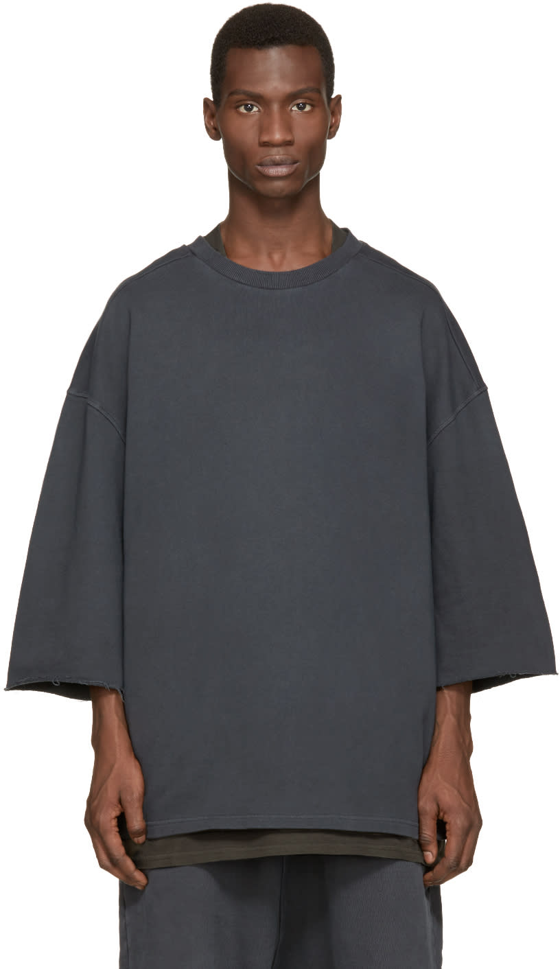Yeezy Season 1 Grey Cropped-sleeve Pullover