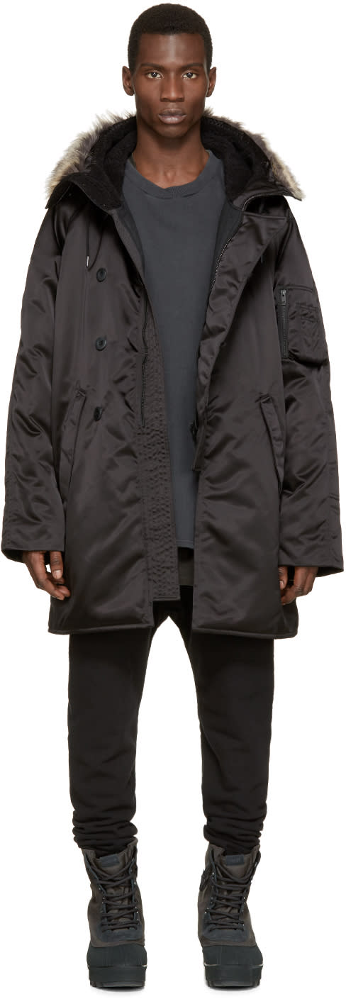 Yeezy Season 1 Black Faux-fur Parka