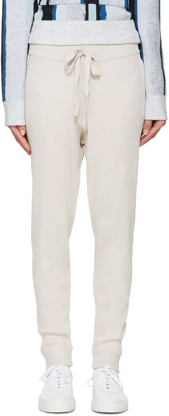 Baja East Beige Merino Ribbed Lounge Pants