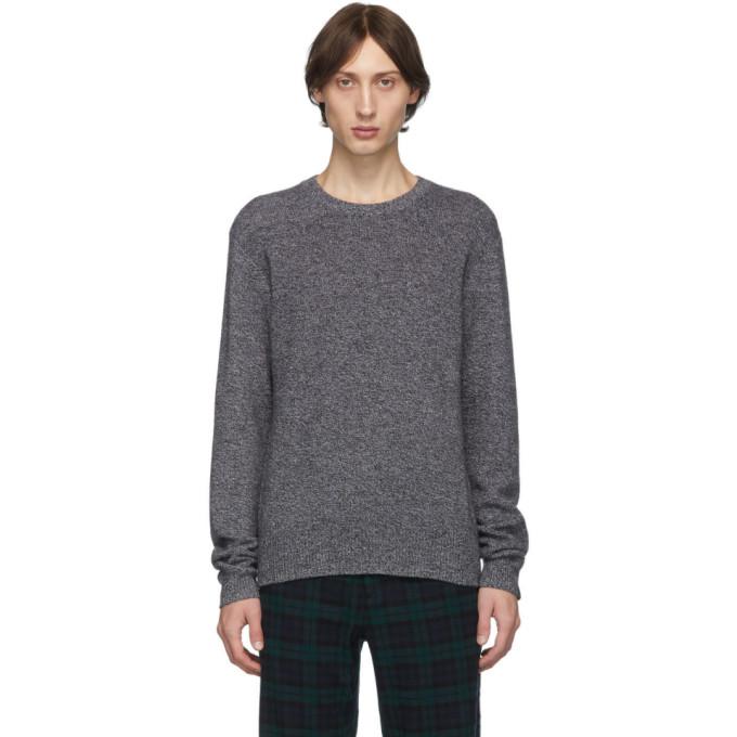 Rag And Bone Grey Cashmere Haldon Crewneck Sweater In 960 Blkwht