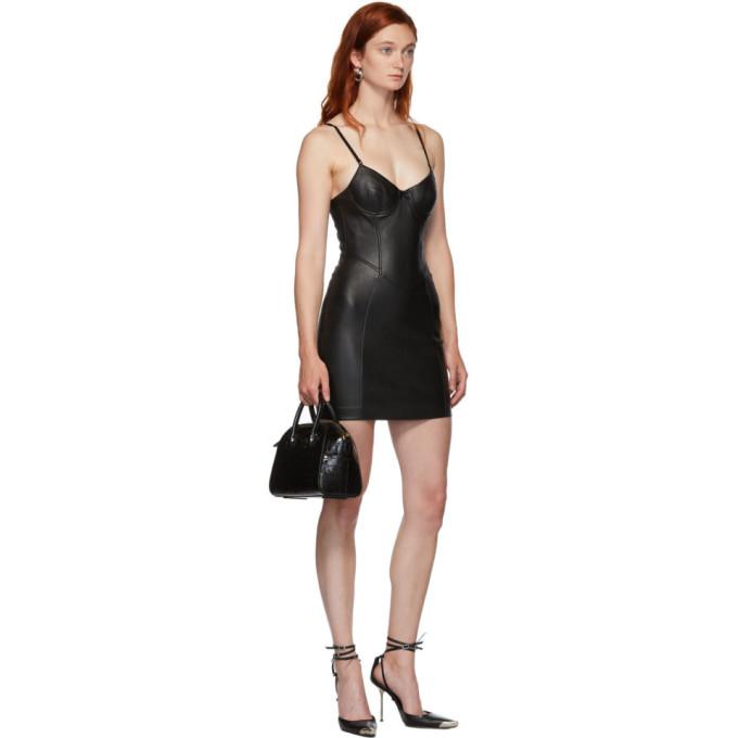 黑色皮革弹性连衣裙展示图