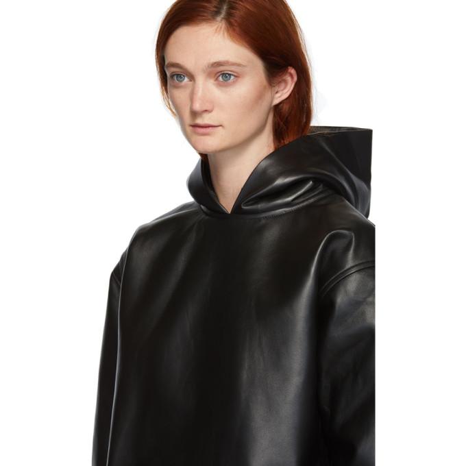 黑色皮革连帽衫展示图