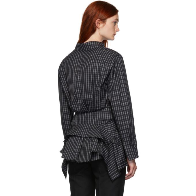 黑色 & 白色腰部系带衬衫展示图