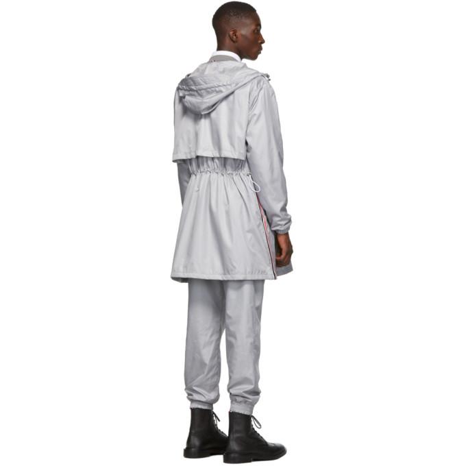 灰色防撕尼龙拉链派克大衣展示图