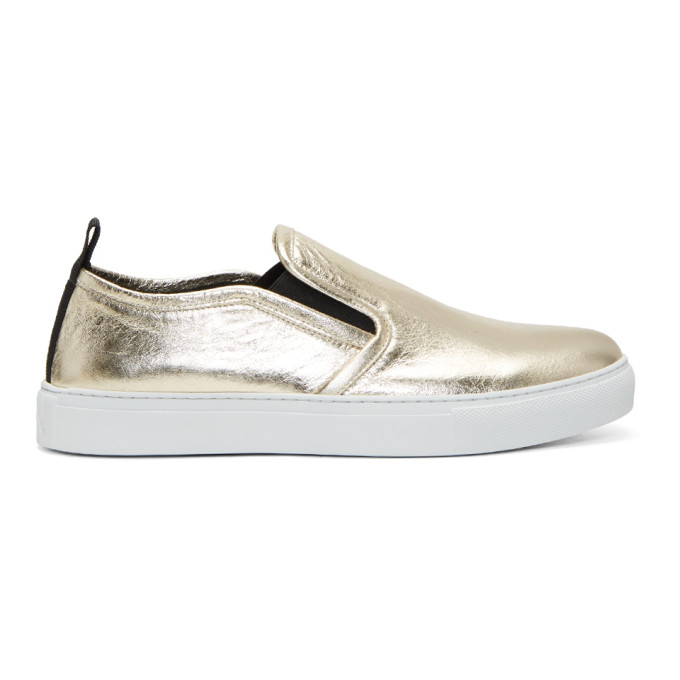 Gold Metallic Chris Slip-On Sneakers Alexander McQueen