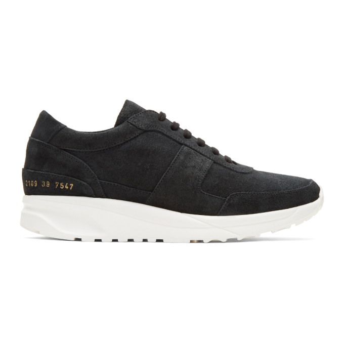 COMMON PROJECTS Shoes COMMON PROJECTS Black Waxed Suede Track Sneakers