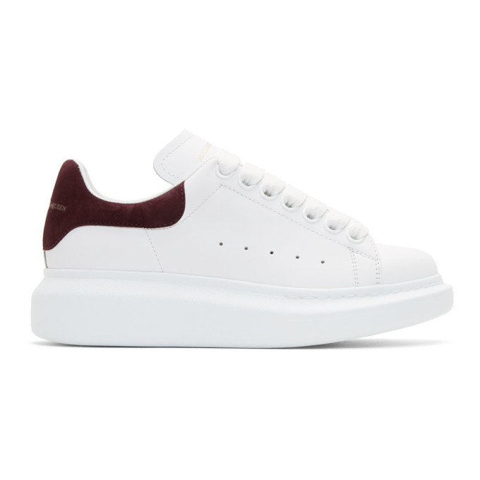 White and Burgundy Oversized Sneakers Alexander McQueen