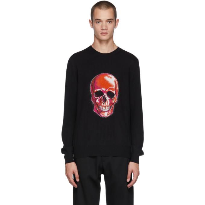 Alexander McQueen Black Wool and Mohair Skull Sweater