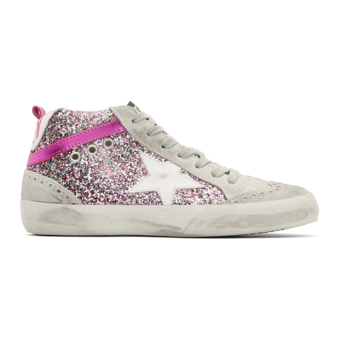 Pink Glitter Mid Star Sneakers Gold Hotsell