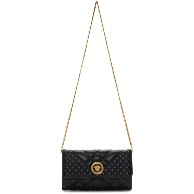 Black Quilted Continental Chain Wallet Bag Versace
