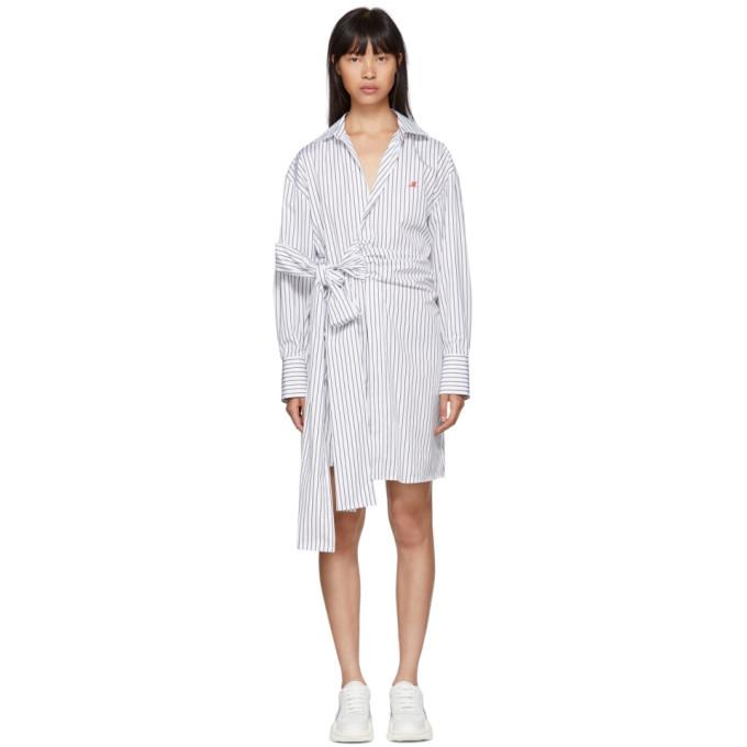 Msgm Black & White Striped Belted Shirt Dress