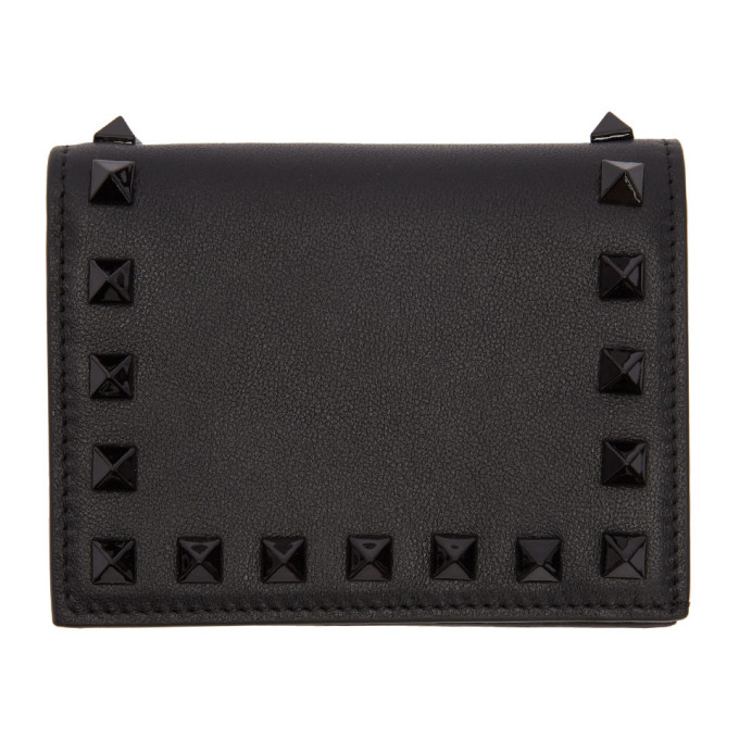 Black Valentino Garavani Small Rockstud French Flap Wallet Valentino