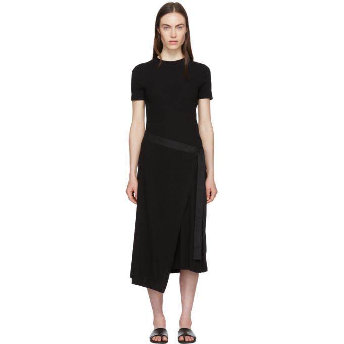 Rosetta Getty Black Apron Wrap T-shirt Dress