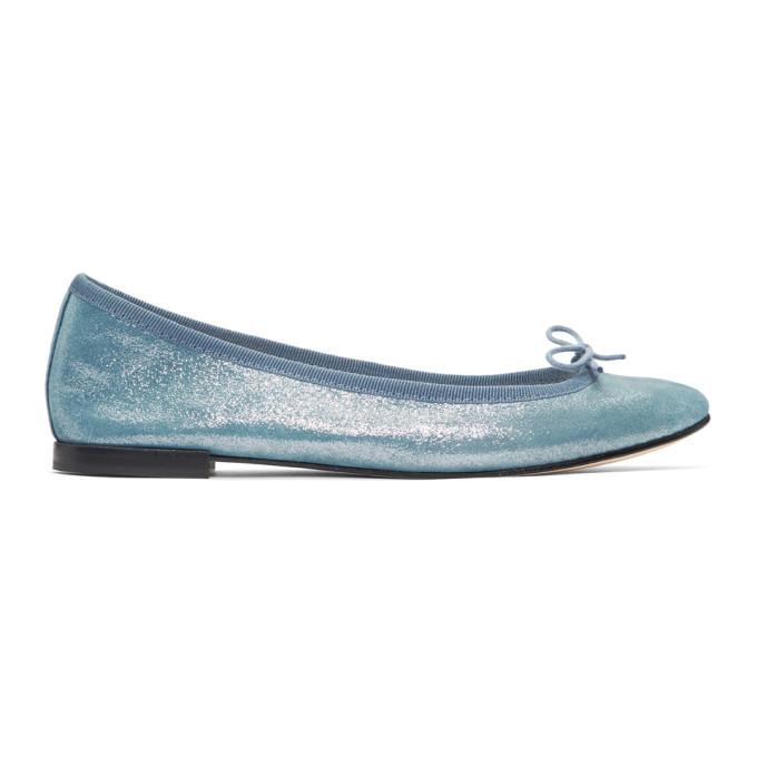 Repetto Blue Metallic Suede Cendrillon Ballerina Flats