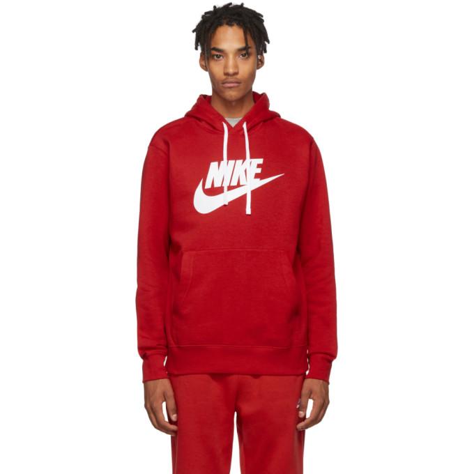 nike fleece red hoodie