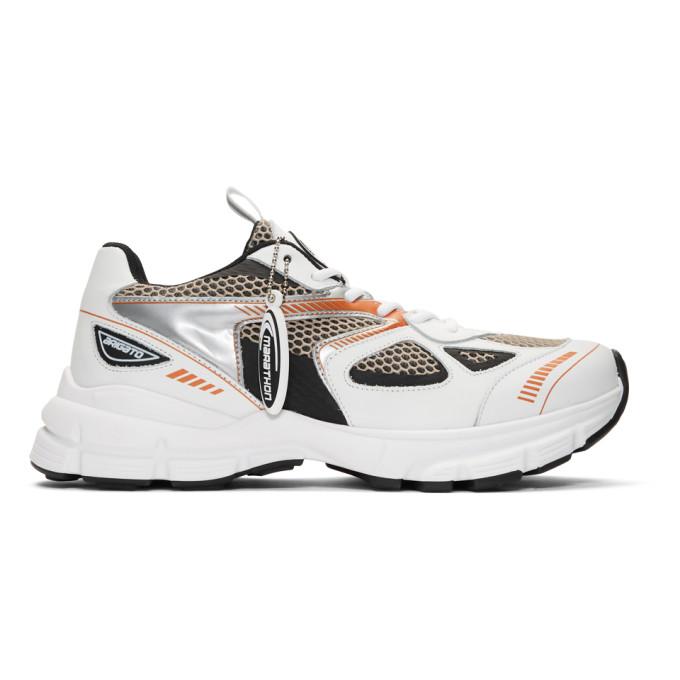 Axel Arigato White and Orange Marathon Sneakers
