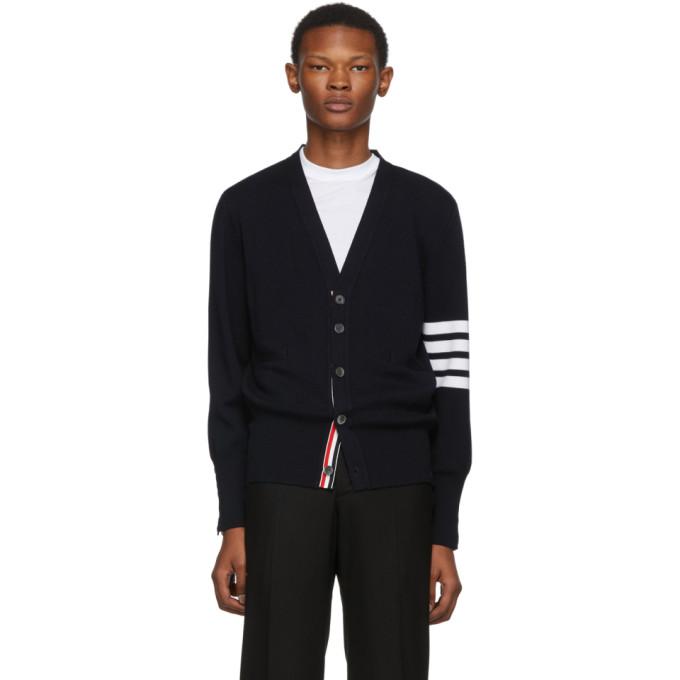 Thom Browne Navy Merino Wool 4 Bar Cardigan