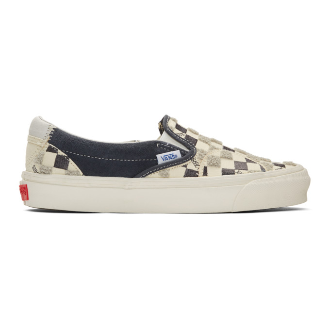 Vans Off White and Black Bricolage Classic Slip On Sneakers ...