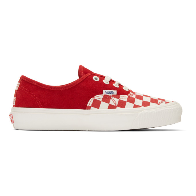 Vans Red Checkerboard Suede OG Authentic LX Sneakers