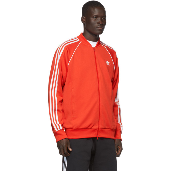 Shop Adidas Originals Red Sst Track Jacket Sweater In Lush Red
