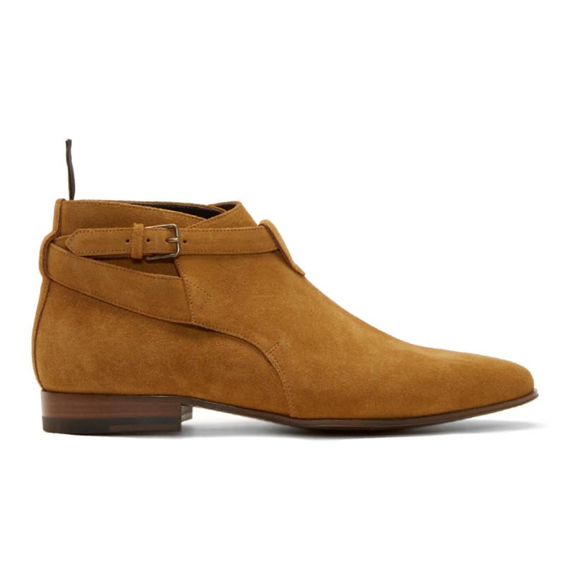 Saint Laurent: Tan London Ankle Boots | SSENSE