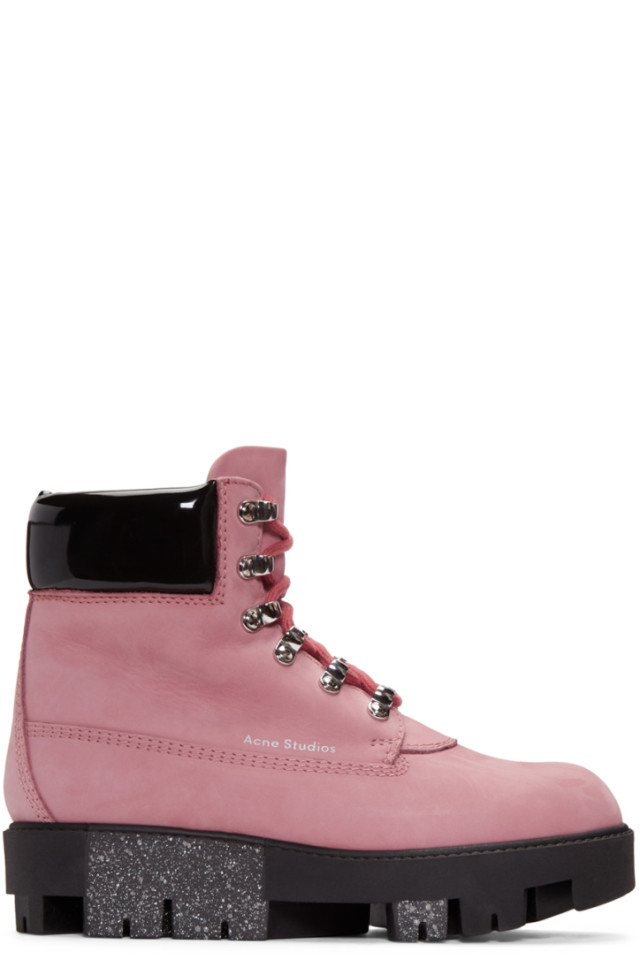 6c15dfcd9e4 Acne Studios Pink Telde Hiking Boots from SSENSE - Styhunt
