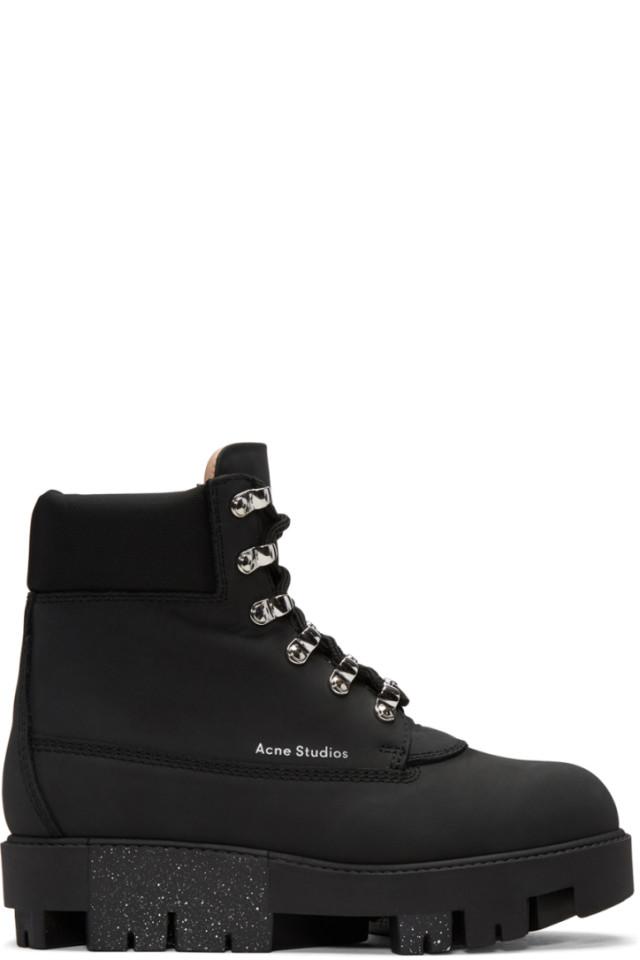 33e4ac9c936 Acne Studios Black Telde Hiking Boots from SSENSE - Styhunt