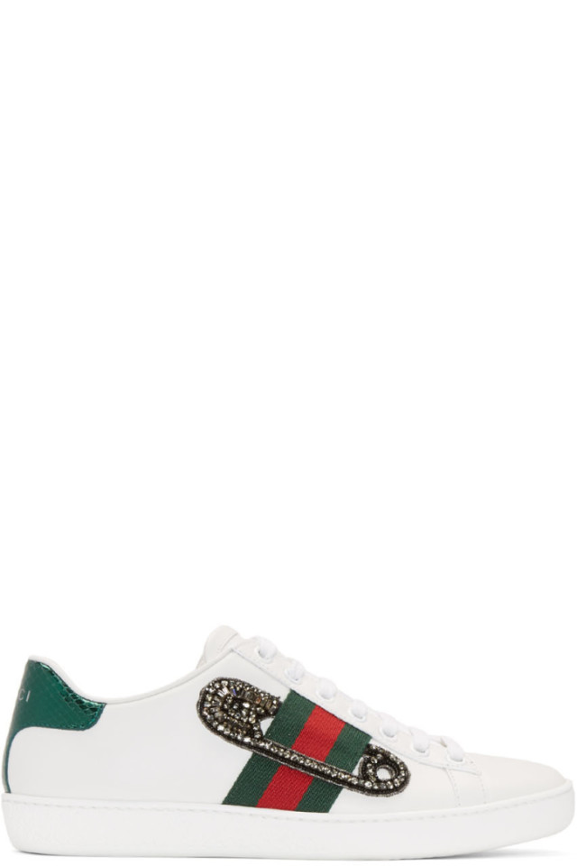 54f9abdfb9f0 Gucci White Safety Pin New Ace Sneakers from SSENSE - Styhunt