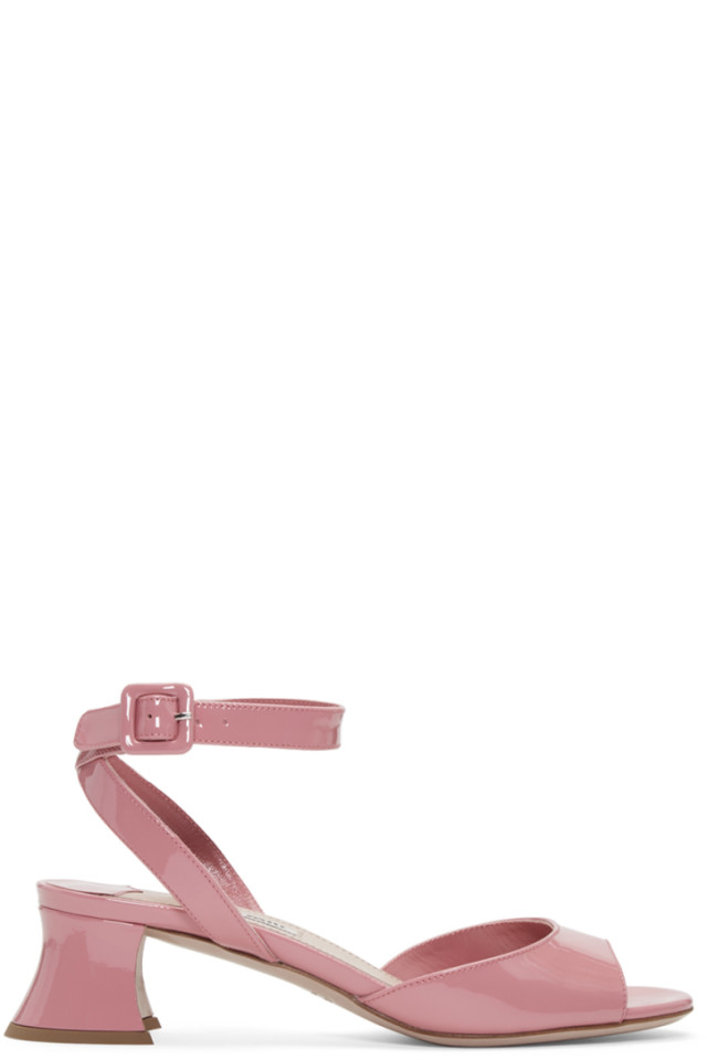 9a3ba6c789a Miu Miu Pink Patent Leather Heeled Sandals