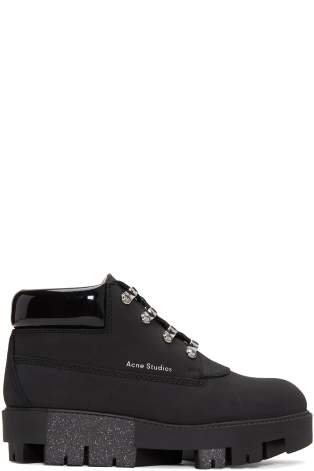 cb63816cf14 Acne Studios Black Tinne Hiking Boots from SSENSE - Styhunt