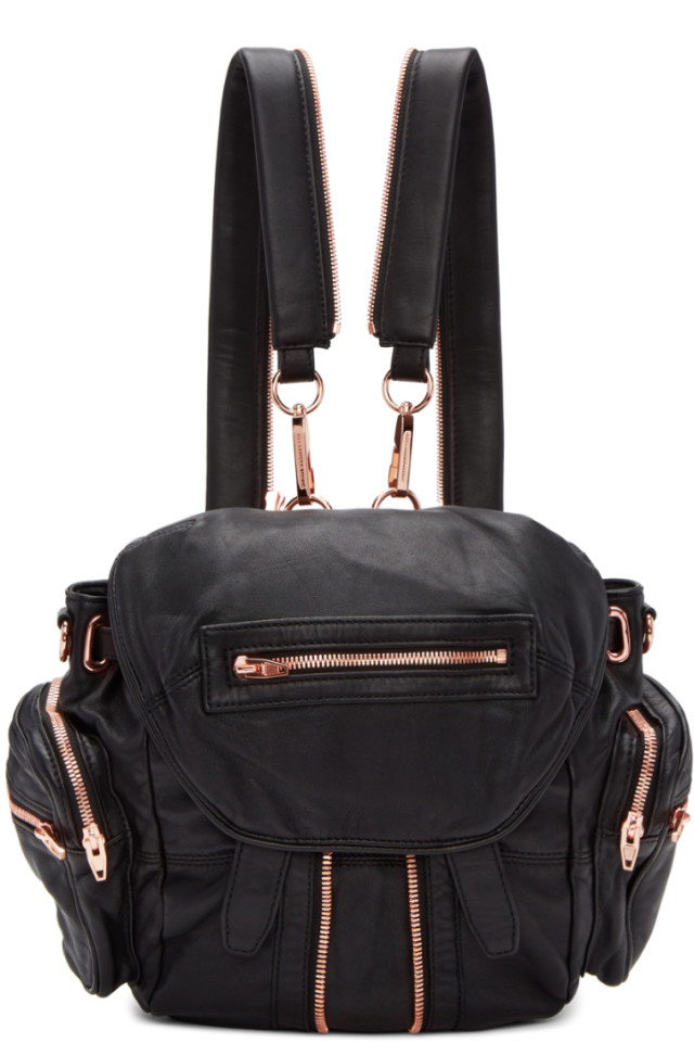 6ce6e652a3 Alexander Wang Black   Rose Gold Mini Marti Backpack from SSENSE ...