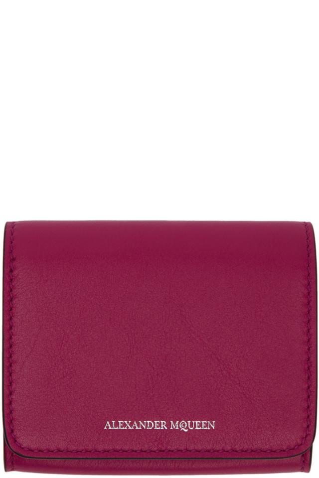 Alexander McQueen Pink Fold Over Business Card Holder from SSENSE ...