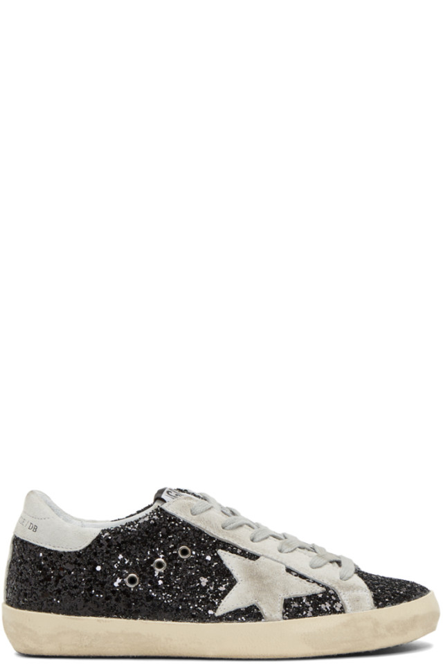White and Black Glitter Superstar Sneakers Golden Goose