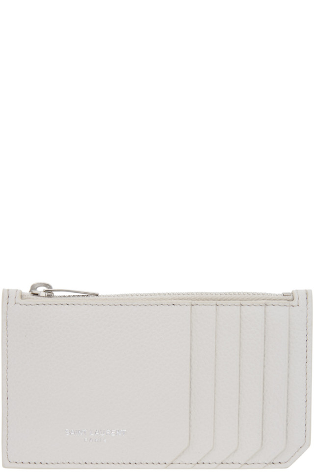 abbefc2bf6d Saint Laurent White 5 Fragments Zip Card Holder from SSENSE - Styhunt