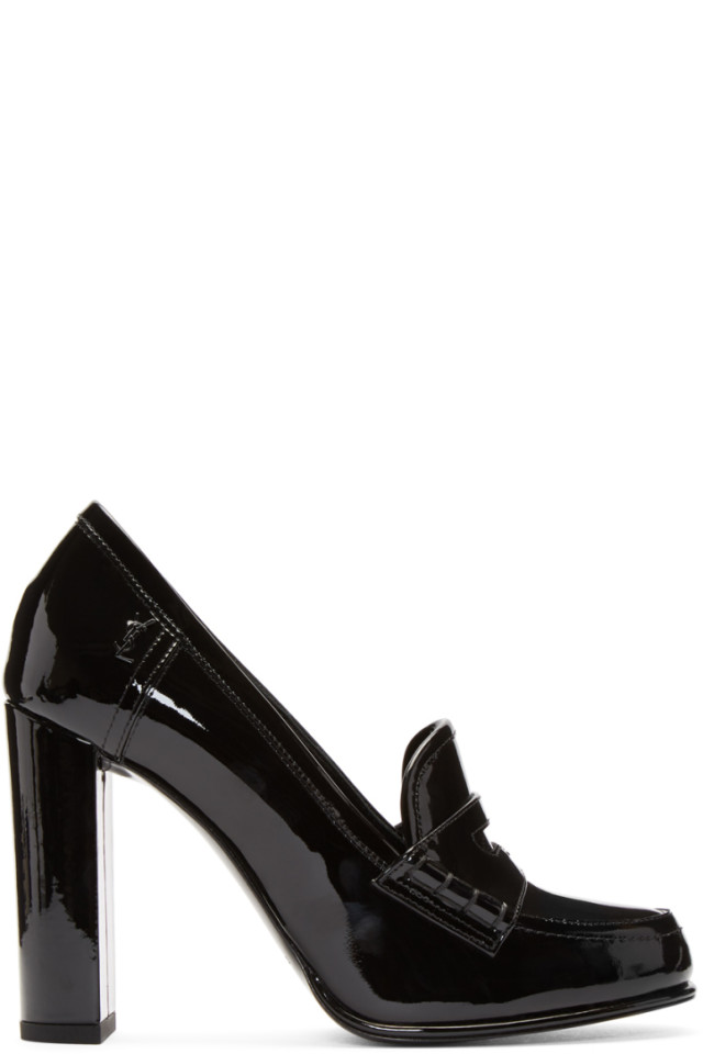 Black Patent Universite Loafer Heels Saint Laurent