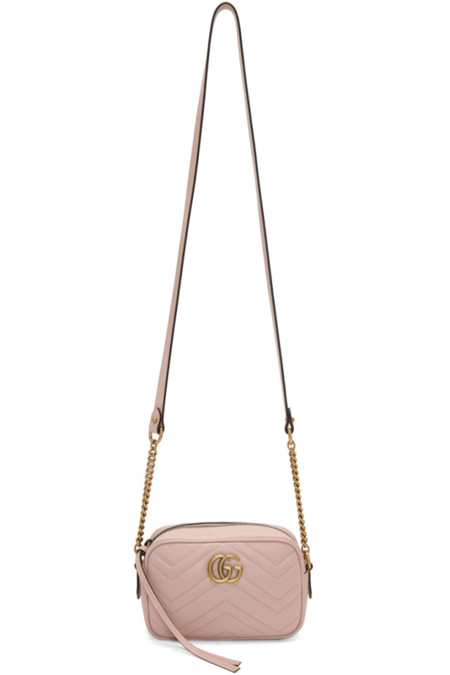 0d27d93bcf25 Gucci Pink Mini GG Marmont 2.0 Camera Bag from SSENSE - Styhunt