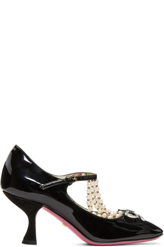 586fccb48 Gucci Black Patent & Pearl Taide Heels