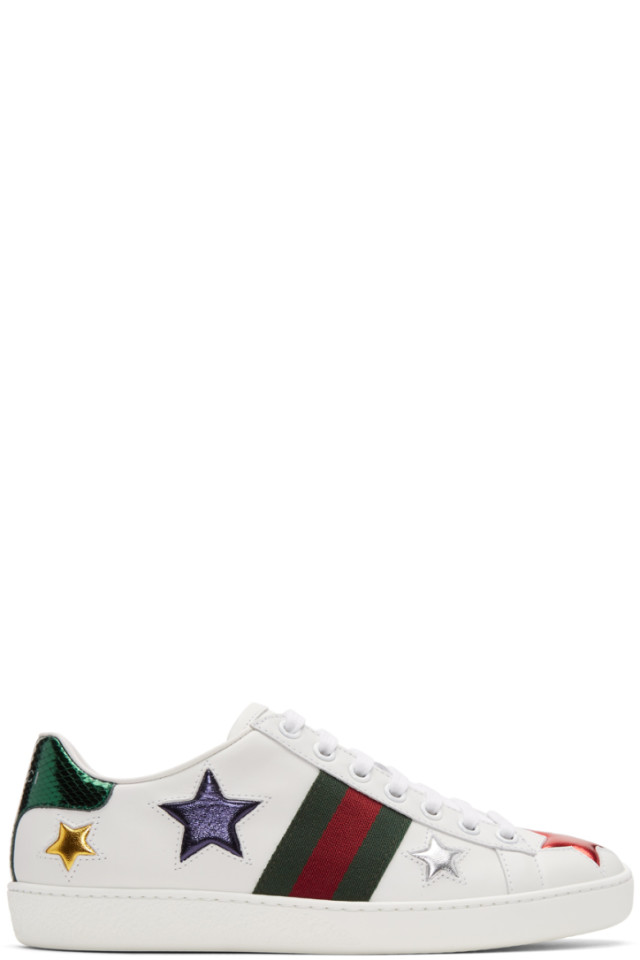 7c39b05bf2d Gucci White Stars Ace Sneakers from SSENSE - Styhunt