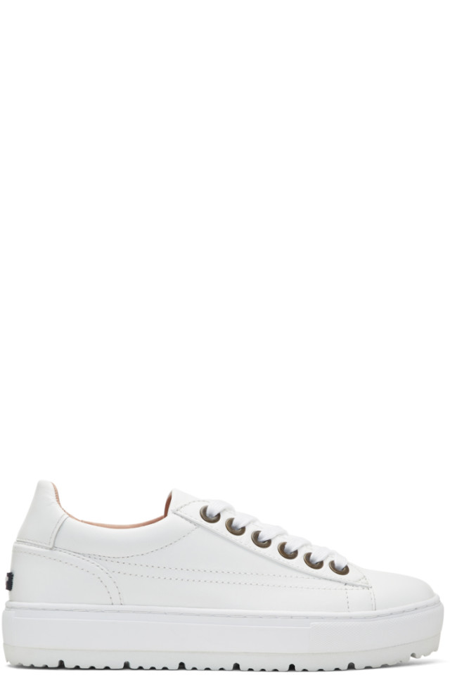 Jil Sander Navy White Leather Platform