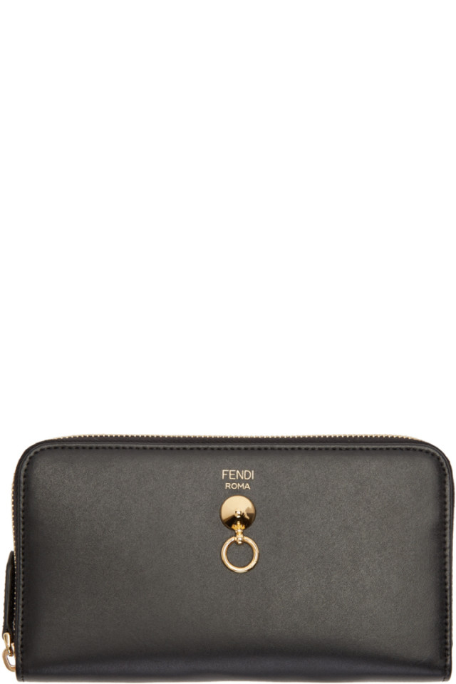 66959fd5be5c Fendi Black Conical Stud Zip Around Wallet from SSENSE - Styhunt