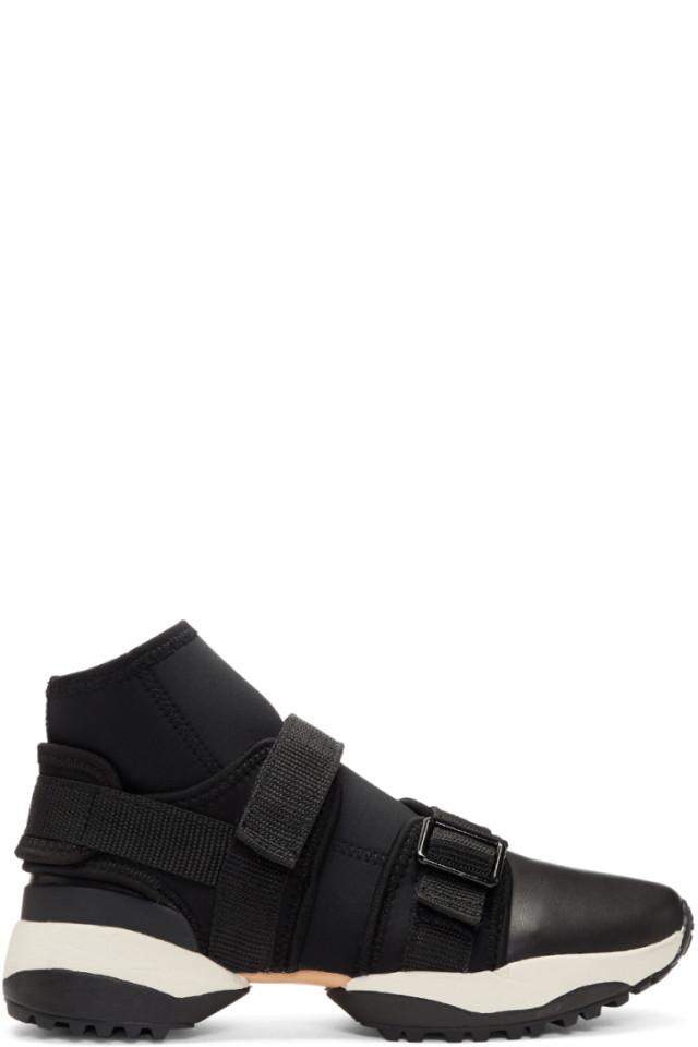 Y's Black Neo Plain High-Top Sneakers