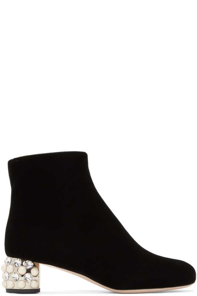 Miu Miu Black Pearl & Crystal Velvet Boots