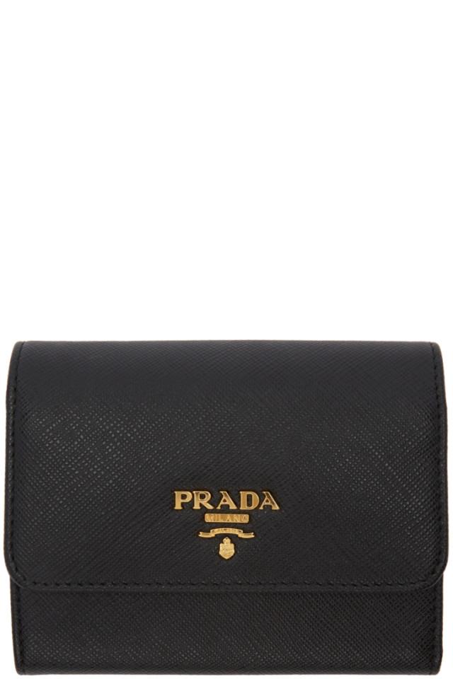 8e4f02bd955d Prada Black Saffiano Trifold Wallet from SSENSE - Styhunt