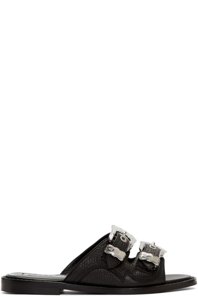 Black Moon Buckle Sandals Alexander McQueen
