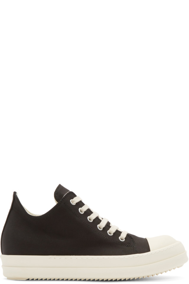 Black and Off-White Low Sneakers Rick Owens