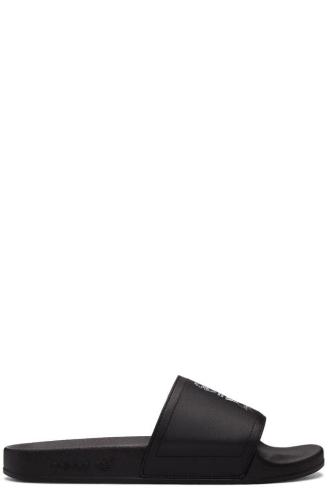 bf25cfdfd344 Y-3 Black Leather Adilette Slides from SSENSE - Styhunt