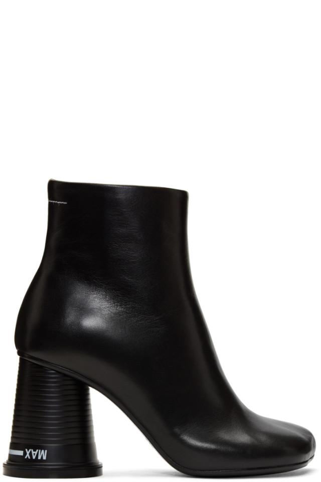 MM6 Maison Martin Margiela Black Cowboy Ankle Boots