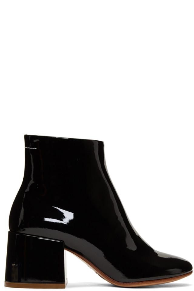 951269f6e04d MM6 Maison Martin Margiela Black Patent Flare Heel Boots from SSENSE ...