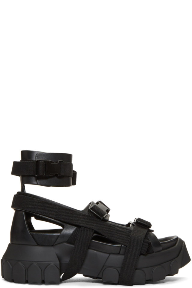 5480ee186245 Rick Owens Black Hiking Spartan Sandals from SSENSE - Styhunt